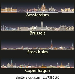 vector illustration of Amsterdam, Brussels, Stockholm and Copenhagen abstract skylines icons with bright night city lights