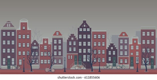 Vector illustration of Amsterdam city on a rainy day. Typical houses and bikes. Subdued colors.