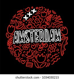 Vector illustration of Amsterdam. Round pattern with isolated elements on a black background. The brand colors of Amsterdam