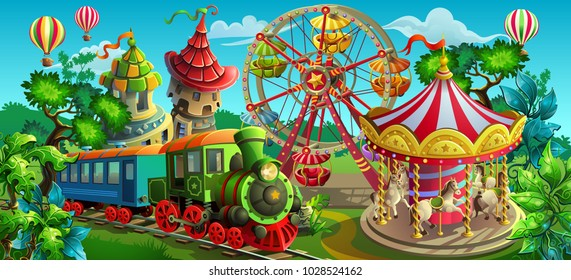 Vector illustration. Amusement park. Carousel, Ferris wheel, train.