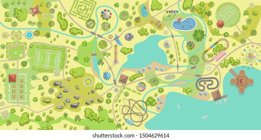 A vector illustration of amusement park map. (Top view) Attractions, paths, lake, river, plants, playground. (View from above)
