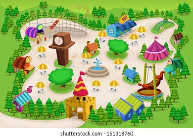 A vector illustration of amusement park map