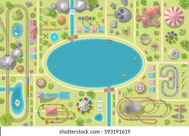 A vector illustration of amusement park map. (Top view) Attractions, paths, lake, railroad, circus, plants, tents. (View from above)
