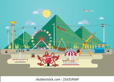 Vector Illustration of amusement park with mountain background.
