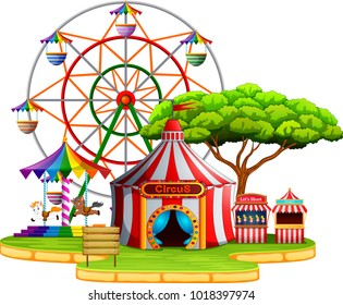vector illustration of Amusement park scene at daytime