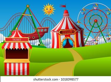vector illustration of Amusement park scene at daytime