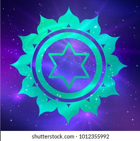 Vector illustration of Anahata chakra on outer space ultraviolet background.