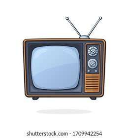 Vector illustration. Analogue retro TV with antenna, channel and signal selector. Television box for news and show translation. Clip art with contour for graphic design. Isolated on white background