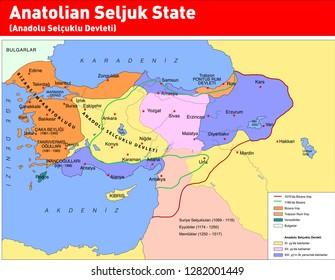 Vector illustration of Anatolian Seljuk State, Seljuk map and ancient civilizations