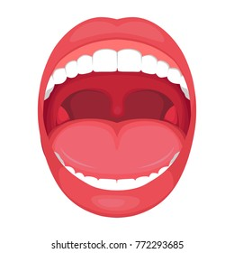 vector illustration of a  anatomy human open  mouth.
