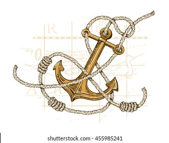 Vector illustration of anchor, map and rope. Sea collection