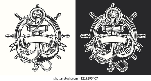 Vector illustration. Anchor with rope and ribbon for lettering on dark and white background.