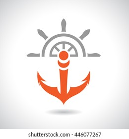 Vector Illustration of an Anchor and Rudder Icon isolated on a white background