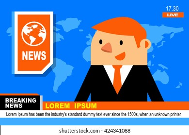 Vector Illustration Anchorman in Breaking NEWS and TV Screen Layout.