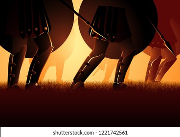 Vector illustration of ancient army marching, holding a shield and spear. Invasion, historic battle theme