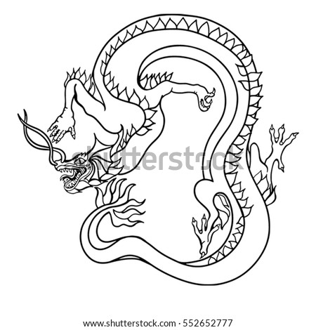 vector illustration ancient chinese dragon hand stock vector