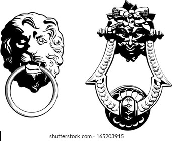 Vector illustration of ancient  classic door knocker
