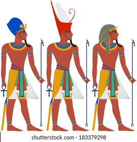 Vector illustration of ancient Egypt Pharaoh three pack.