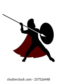 Vector Illustration of an ancient Greek or Roman warrior, wearing his coat, his helmet and armed with a spear. Can represent warriors like Spartans, Hoplites and other soldiers of the ancient world.