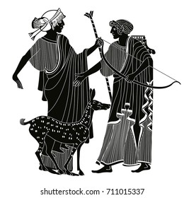 Vector illustration in ancient Greek style. Mythological plot of Apollo and Artemis. A man with a bow in his hands.