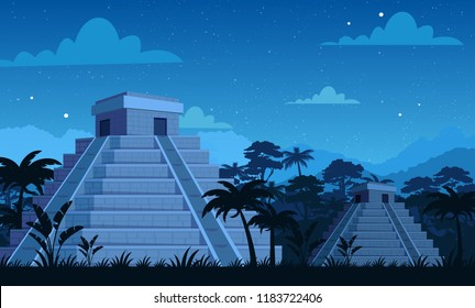 Vector illustration of ancient Mayan pyramids in night time with tropical plants, jungle and sky background in flat cartoon style.