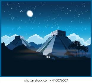 Vector illustration of ancient Mayan pyramids in the jungle at night