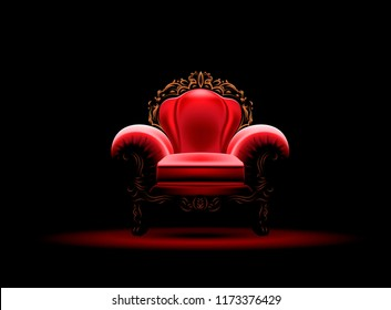 Vector illustration of an ancient red royal throne isolated on dark background in realistic style. Gilded antiquarian armchair, exclusive old carved furniture with velvet seat.