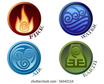 Vector illustration ancient symbols of four elements with subscribe