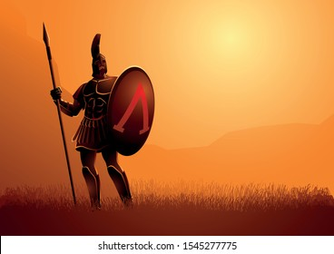 Vector illustration of ancient warrior with his shield and spear standing gallantly on grass field