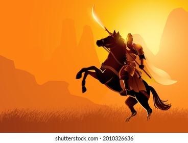 Vector illustration of ancient warrior series, Guan Yu was a Chinese military general serving under the warlord Liu Bei during the late Eastern Han dynasty of China