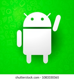 vector illustration android icon with cool roboter, programming and mobile software sign with detail green pattern in the background
