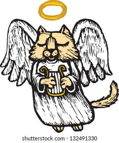 Vector illustration of an angel cat