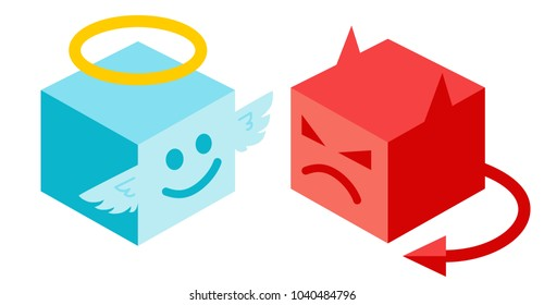 Vector illustration of a angel and devil in isometric style. Angel and devil in isomertry.