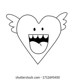 Vector illustration of an angel heart in doodle style. Suitable for postcards, backgrounds, leaflets, decorations, stickers. Eps 8.
