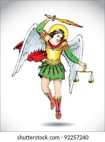 vector illustration of angel Michael the Archangel
