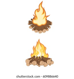 vector illustration angle of firewood and campfire