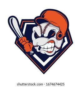 Vector illustration of an angry baseball