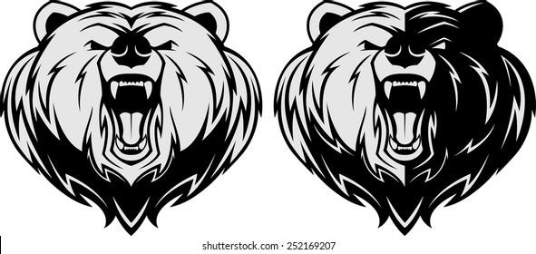 Vector illustration, Angry bear head mascot, head mascot