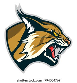 Vector illustration of angry bobcat face profile. Can be used as mascot.