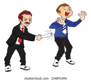 Vector illustration of angry boss hitting scared employee at office.