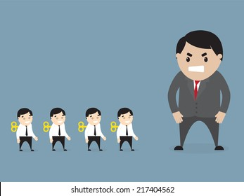 Vector illustration of  angry boss loking at employees . Flat design