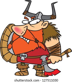 A vector illustration of angry cartoon viking