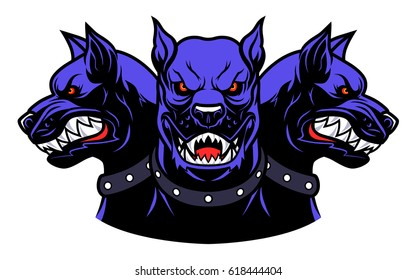 Vector illustration of angry Cerberus heads.