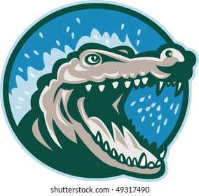 vector illustration of an Angry crocodile or alligator head snapping set inside circle.