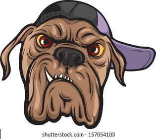Vector illustration of angry dog face in cap. Easy-edit layered vector EPS10 file scalable to any size without quality loss. High resolution raster JPG file is included.