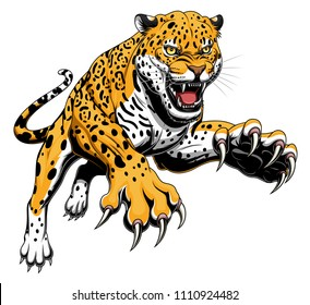 Vector illustration of angry leaping jaguar
