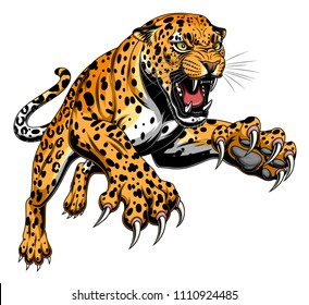 Vector illustration of angry leaping leopard