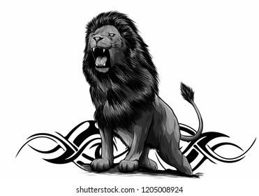 vector Illustration of angry leaping lion in white background