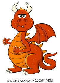 vector illustration of a angry looking cartoon dragon