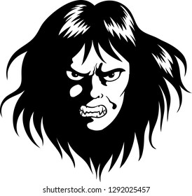 Vector illustration of an angry male head logo.